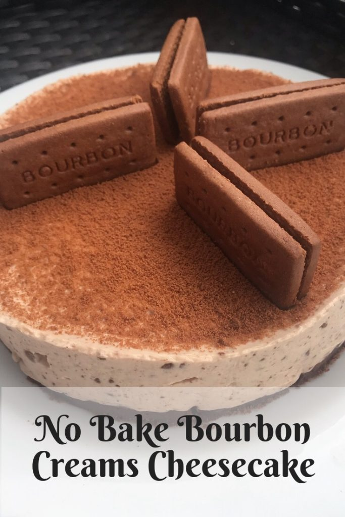 Pinterest image for the bourbon creams cheesecake