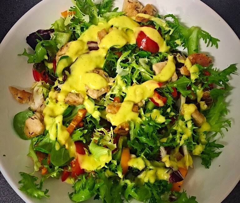 Mango dressing on grilled chicken salad