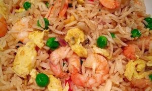 Close up image of homemade king prwan fried rice