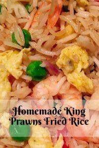 Pinterest image for homemde king prawns fried rice